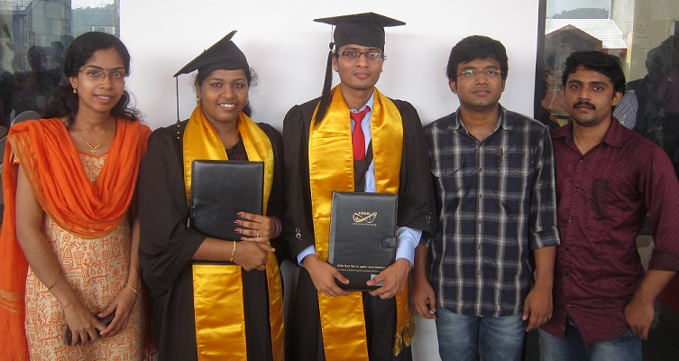 Lekshmi and Rathod on the graduation day with Anjana, Rajesh and Sunil.