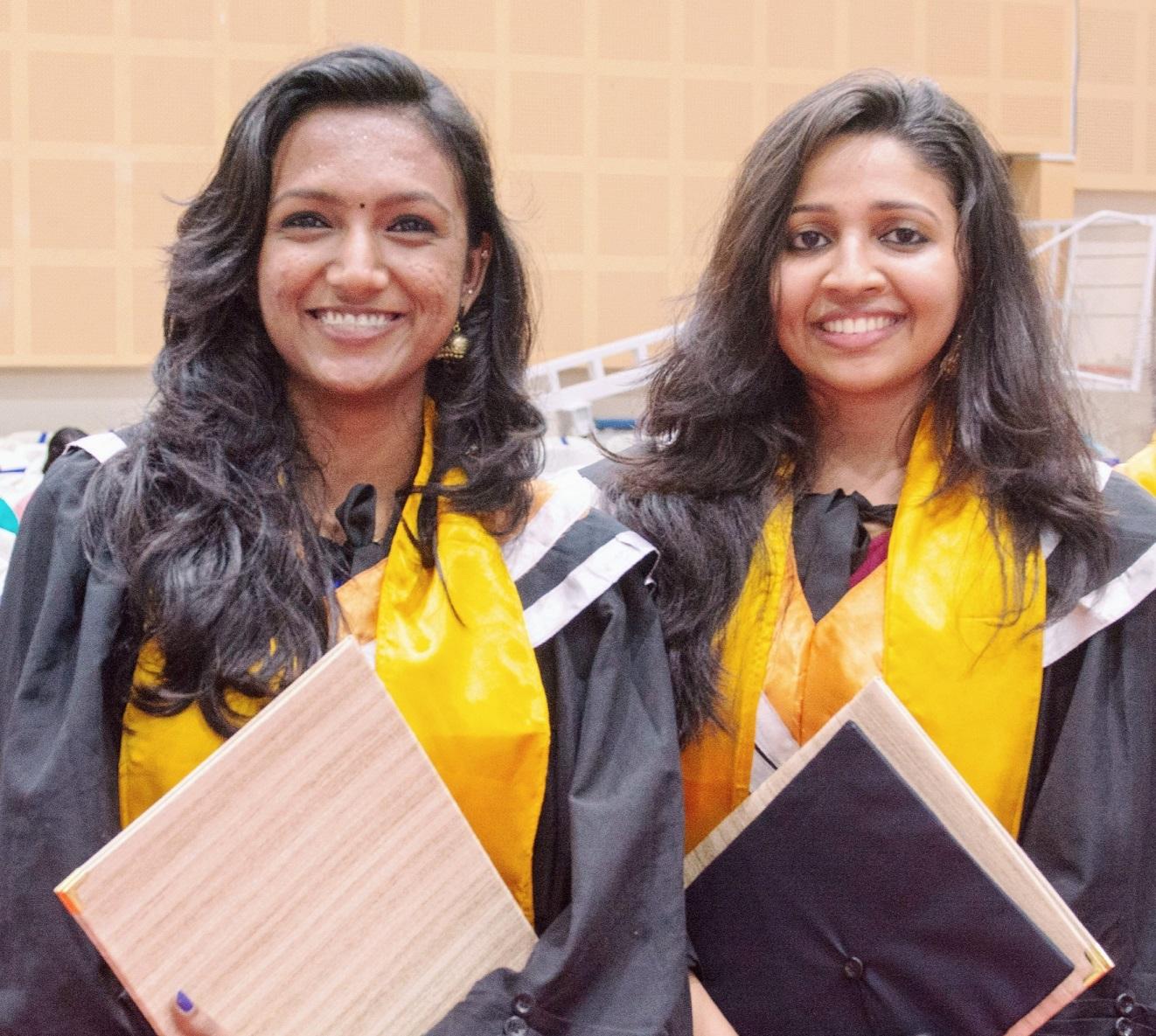Keerthi and Devika on their Graduation Day 2019.